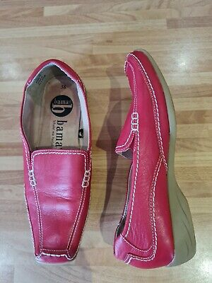 $ CDN8.55 • Buy Bama Womens Red Leather Loafer  Shoes Size 38 Uk 5