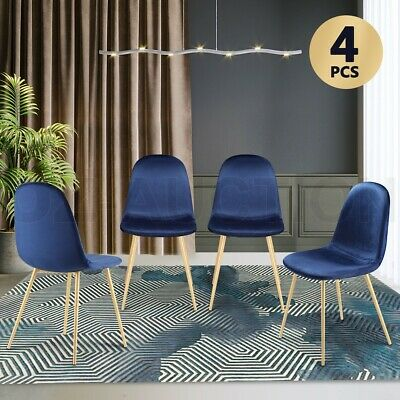 AU199.95 • Buy Soft Dining Chairs Velvet Kitchen Chairs Ergonomic Chair Set Of 4 With Metal Leg