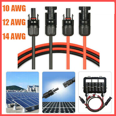 £9.63 • Buy Black/Red Solar Panel Extension Cable Wire Connector 14/12/10 AWG 5FT-50FT