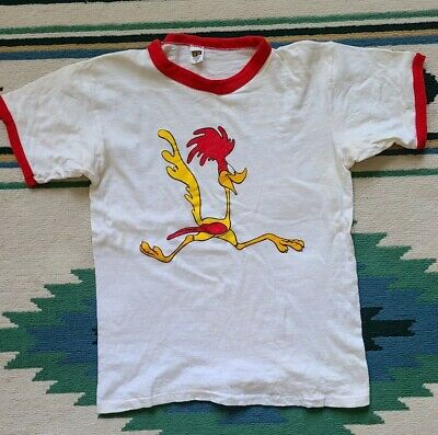 $ CDN36.38 • Buy Vintage T Shirt 70s 80s M - Roadrunner Ringer Single Stitch