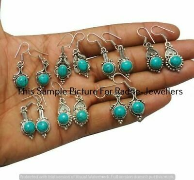 $ CDN12.08 • Buy Turquoise 5 Pair Wholesale Lots 925 Sterling Silver Plated Earrings Lot-11-216