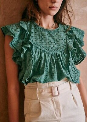 £49.55 • Buy Sezane Clarence Sauge Top XS 34 Women's Casual Party Eyelet Blouse NWT 18070