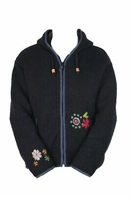 Pachamama Womens Wool Knitted Hoody Jumper, Handmade In Nepal, Embroidered Art • 40£