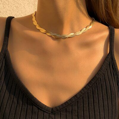 £6.99 • Buy Snake Chain Necklace Women Vintage Flat Blade Choker Jewelry Gold Sulver Gift