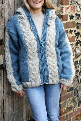 £34.95 • Buy Pachamama Andorra Blue Hand Cable Knitted Wool Hoody - Comfortable, Lounging