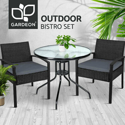 AU209.90 • Buy Gardeon Outdoor Dining Chair And Table 3pc Set Wicker Patio Furniture Black