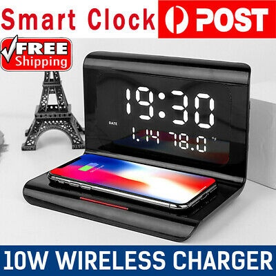 AU21.61 • Buy 10W LED Digital Alarm Clock Qi Wireless Charger Charging Pad Station Thermometer
