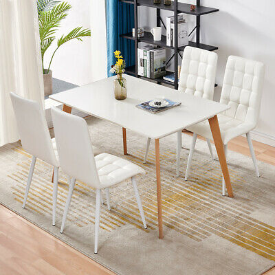 £89.99 • Buy 2 Pu Faux Leather Chairs High Back Dining Chairs Kitchen White Chairs Soft Seat