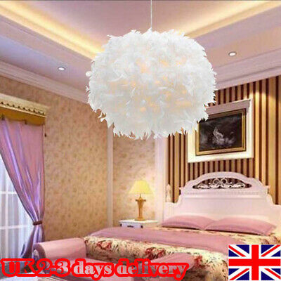 £13.99 • Buy White Feather LED Ceiling Pendant Sphere Round Light Shade Bedroom Lampshade