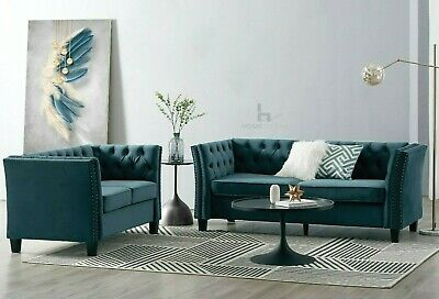 £319.99 • Buy Velvet Fabric Sofa Couch 2 Or 3 Seater Armchair Studded Button Suite Set