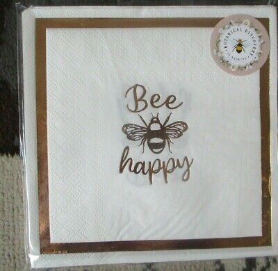 £2.99 • Buy 15 Paper Napkins Bee Happy Gold White Party Garden Birthday Bbq