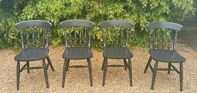 £180 • Buy X4 Four Solid Oak Dining Chairs In Pitch Black Farrow And Ball