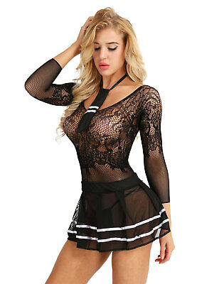 $ CDN6.05 • Buy Sexy Women's Lingerie School Girls See Through Fancy Mini Dress Uniform Outfit