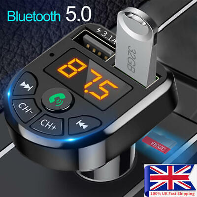 £4.99 • Buy Bluetooth Car FM Transmitter MP3 Player Radio Wireless Adapter Kit 2 USB Charger