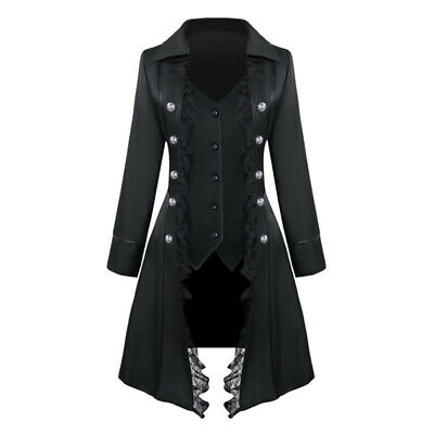 £28.09 • Buy Lady Lace Trim Vampire Gothic Long Jacket Tailcoat Frock Coat Steampunk Tops Fit
