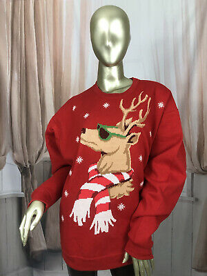 £13.50 • Buy Vintage Red Ladies Casual Sweatshirt Pullover Christmas Rudolph Size Large