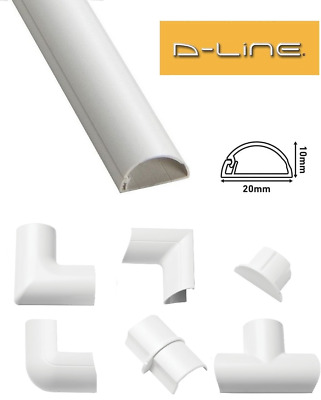 £2.59 • Buy D-Line 20mm X 10mm White Micro+ Trunking PVC Cable Management Hide Cover