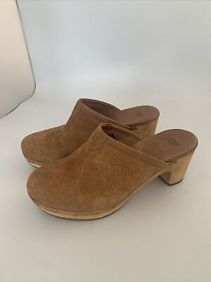 £99 • Buy Ugg Clogs Mules Brown Leather Suede UK5.5