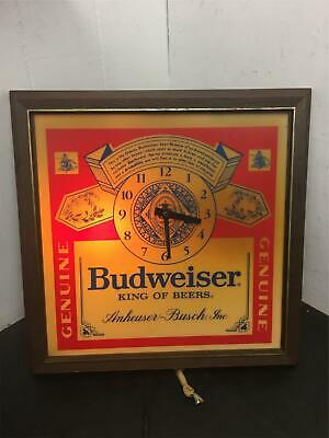 $ CDN212.29 • Buy Vintage 1980's Budweiser King Of Beers Lighted Sign Clock Wall Décor Mancave Pce