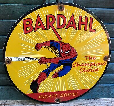 $ CDN12.09 • Buy Vintage Porcelain  Bardahl The Champions Choice Spiderman Gas And Oil Sign