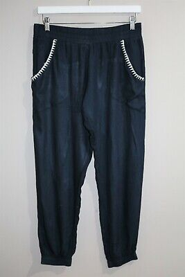 AU9 • Buy Tigerlily Brand Women's Navy Embroidered Detail Harem Pants Size 12 #AN02