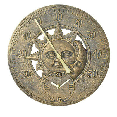 £19.95 • Buy Vintage Sun And Moon Outdoor Garden Thermometer Wall Station Clock Bronze Effect