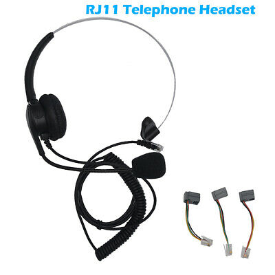 £9.59 • Buy Call Center Office Phone Modular Telephone Headset RJ11 Voice Call Chat Headset