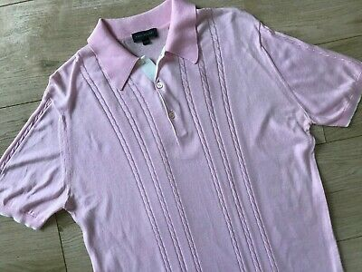 £30 • Buy Mens Pink JOHN SMEDLEY CABLE KNIT POLO SHIRT (M) *GREAT COND*