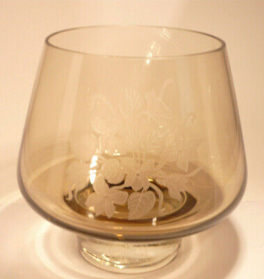 £8.99 • Buy  Caithness Art Glass Brown Glass Bowl With Etched Flower Design.