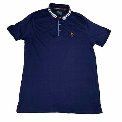 £11.99 • Buy Luke Sport 1977 Polo Shirt With Logo - Navy Blue With Striped Collar - Large