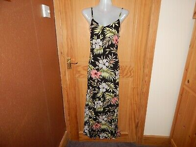 £1.99 • Buy Size 12 Black & Green Floral Maxi Strappy Summer Sun Dress