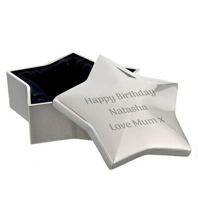 £12.99 • Buy Personalised Silver Plated Star Trinket Box, Engraved Gift