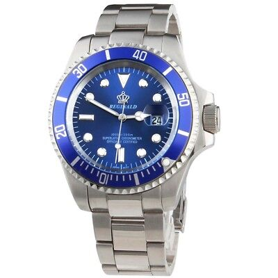 £29.99 • Buy REGINALD SUBMARINER DIVER STYLE Luxury Watch Homage BLUE Quartz Wristwatch