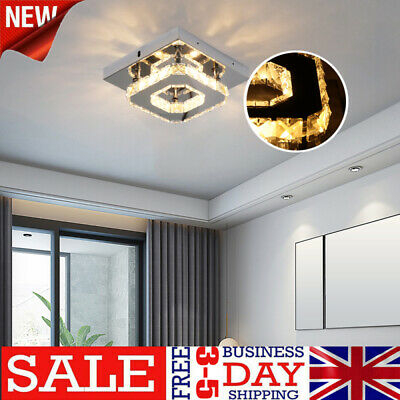 £8.98 • Buy 12w Square LED Crystal Ceiling Down Light Panel Wall Kitchen Read Bathroom Lamp