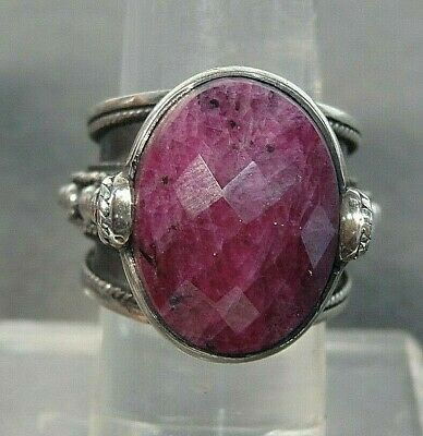 £106.47 • Buy Large Ruby Sterling Silver Ring Size 8