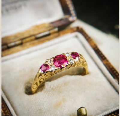£82.74 • Buy 2Ct Round Cut Pink Ruby/Diamond Solitaire Engagement Ring 14K Yellow Gold Finish