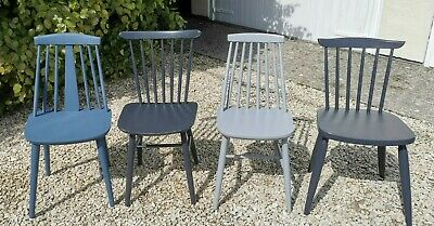£240 • Buy X4 Ercol Stick Backed  Dining Chairs In Black & Blue & Grey Farrow And Ball
