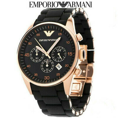 £40.67 • Buy New Ar5905 Emporio Armani Watch Rose Gold Black Silicone Rubber Chronograph Mens