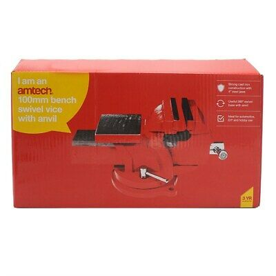 £29.89 • Buy 4  100mm BENCH VICE SWIVEL WITH ANVIL TABLE ENGINEER AMTECH DIY TOOL WORK D4280