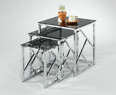 £130 • Buy Glass Nest Of Tables Contemporary Tempered Glass Clear Or Black Side Lamp Tables