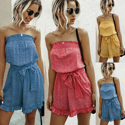 £10.96 • Buy Womens Holiday Off Shoulder Jumpsuit Mini Playsuit Summer Beach Dress Size 6-16