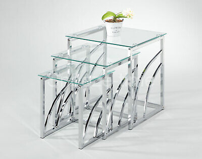 £130 • Buy Glass Nest Of Tables Modern Mira Tempered Glass Clear Or Black Side Lamp Tables