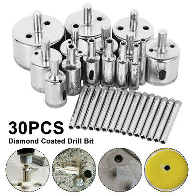 £9.79 • Buy 30pc Diamond Cutter Coated Core Hole Saw Set Holes Saw Drill Bit Tile FOR Glass