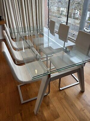 £150 • Buy Set Of 6 Modern Calligaris Dining Chairs In White Leather With Metal Curve Base