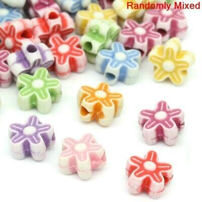 £1.29 • Buy 100 X Acrylic Flower Daisy Spacer Beads Assorted Colours - Job Lot Wholesale