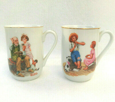 $ CDN16.30 • Buy Norman Rockwell Vintage Cups 1982 Lot Of 2 Coffee Mugs The Cobbler Music Master