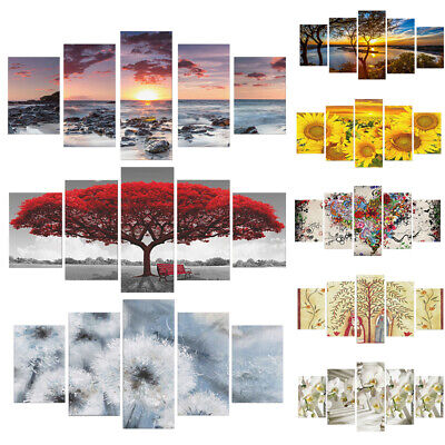 £7.99 • Buy 5PCS Tree Canvas Modern Wall Art Oil Painting Picture Print Unframed Home Decor