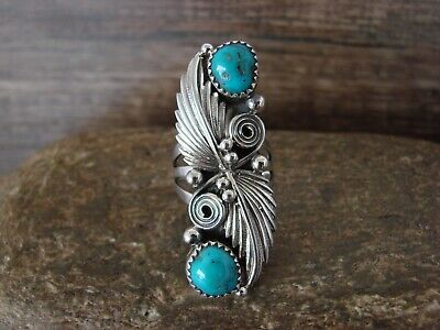 £42.98 • Buy Navajo Indian Jewelry Sterling Silver Turquoise Leaf Ring - Size 6