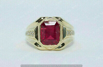$109.99 • Buy 3 Ct Emerald Cut Red Ruby Solitaire Men's Engagement Ring 14K Yellow Gold Over