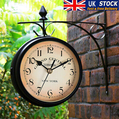 £14.75 • Buy Outdoor Garden Paddington Station Wall Clock Rotate Double Sided Outside Bracket